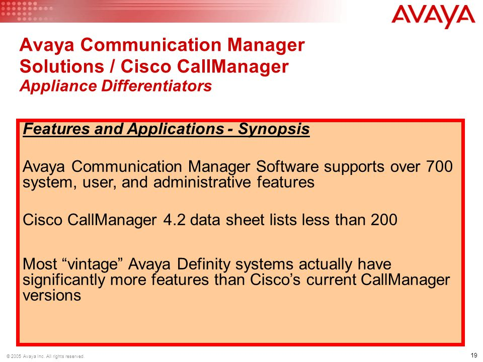 Avaya Communication Manager Solutions / Cisco CallManager Appliance Differentiators