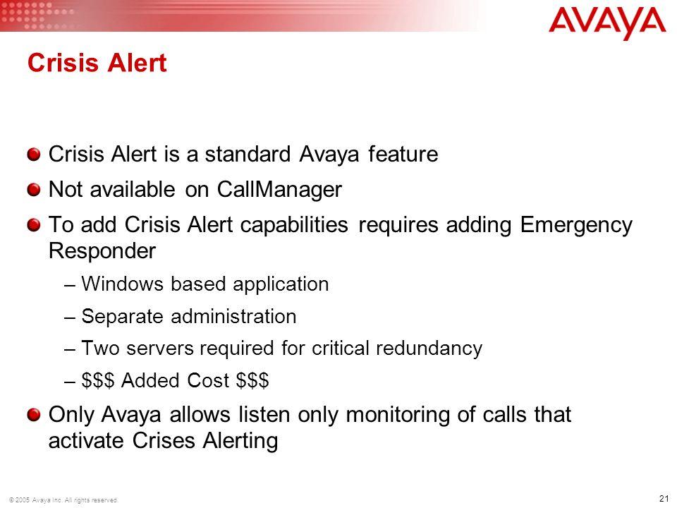 Crisis Alert Crisis Alert is a standard Avaya feature