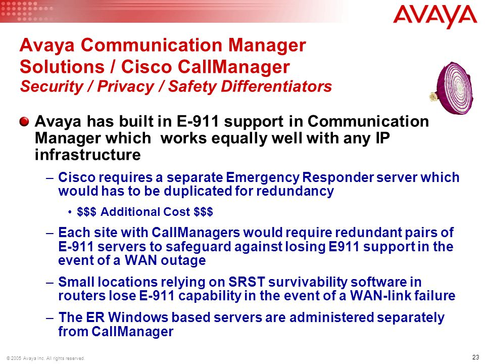 Avaya Communication Manager Solutions / Cisco CallManager Security / Privacy / Safety Differentiators