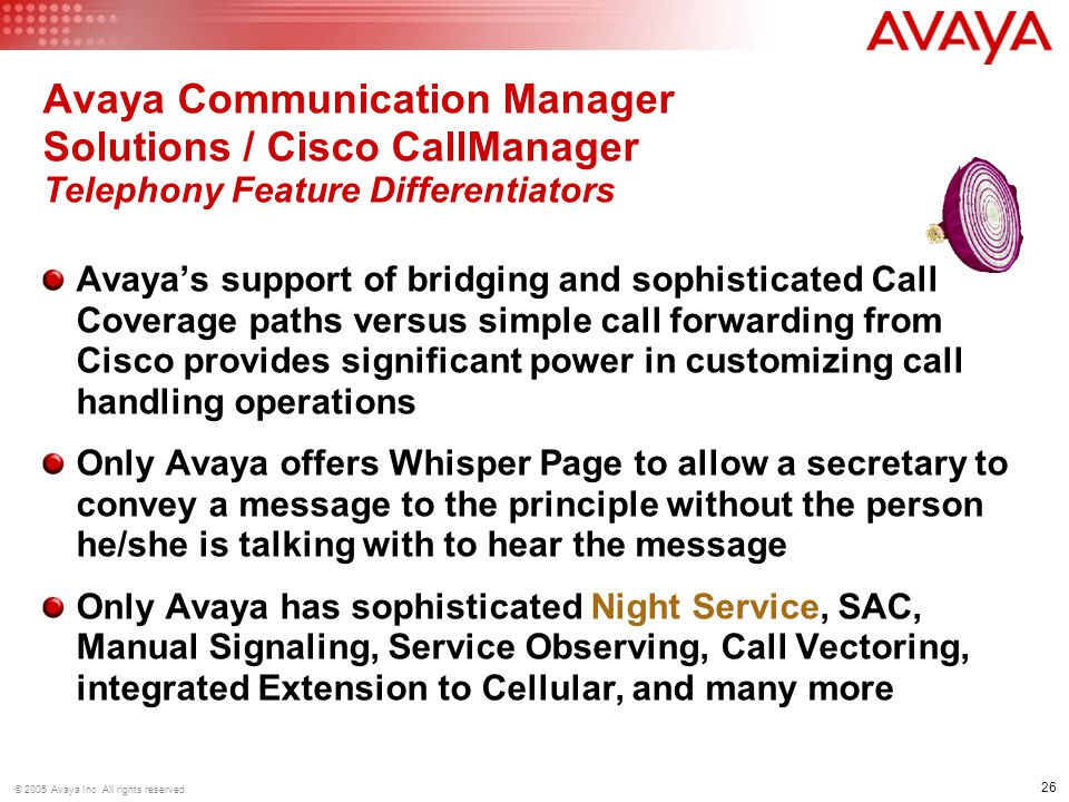 Avaya Communication Manager Solutions / Cisco CallManager Telephony Feature Differentiators