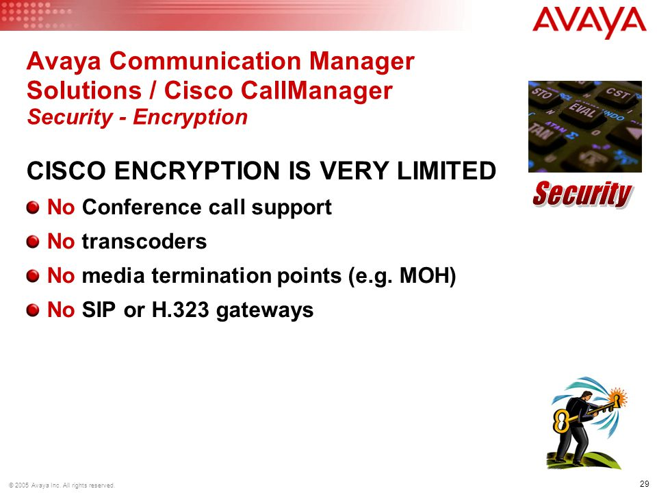 Avaya Communication Manager Solutions / Cisco CallManager Security - Encryption