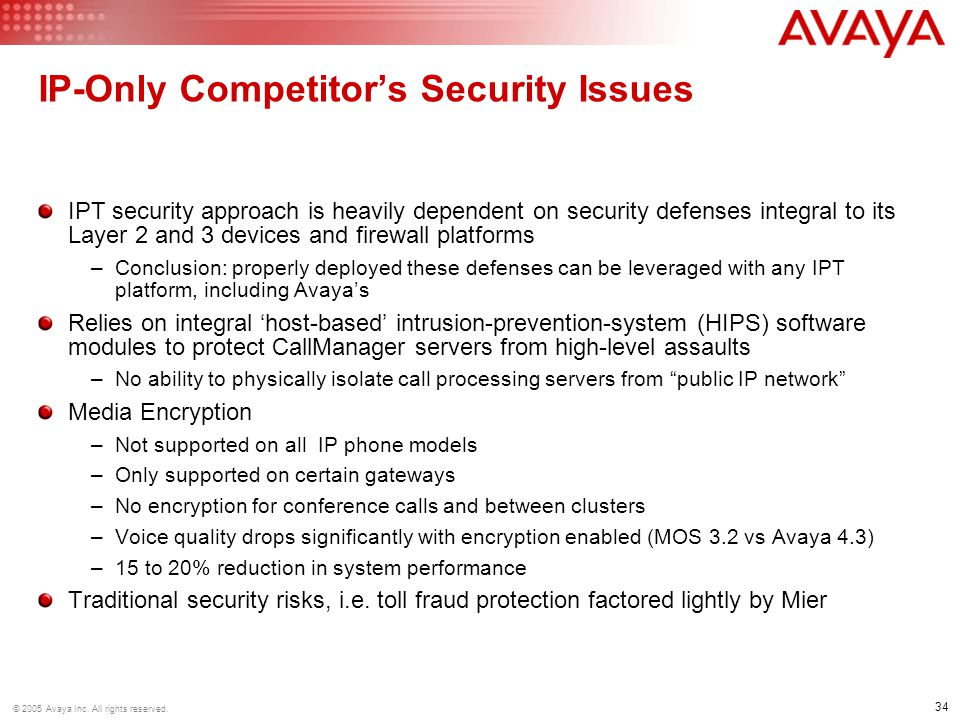 IP-Only Competitor's Security Issues