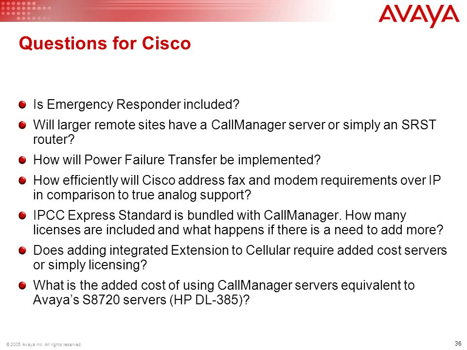 Questions for Cisco Is Emergency Responder included