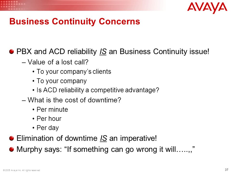 Business Continuity Concerns
