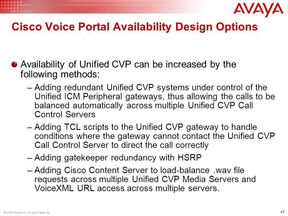 Cisco Voice Portal Availability Design Options