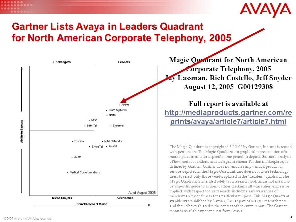 Gartner Lists Avaya in Leaders Quadrant for North American Corporate Telephony, 2005