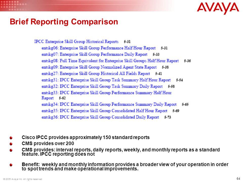 Brief Reporting Comparison