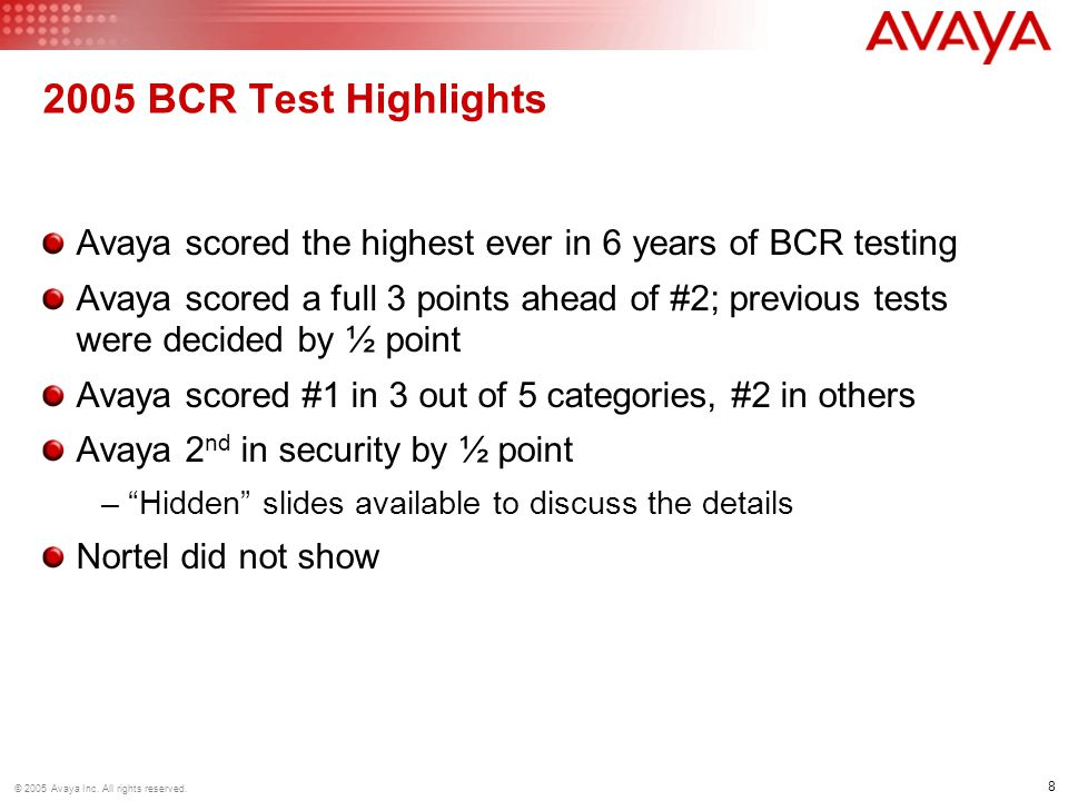2005 BCR Test Highlights Avaya scored the highest ever in 6 years of BCR testing.