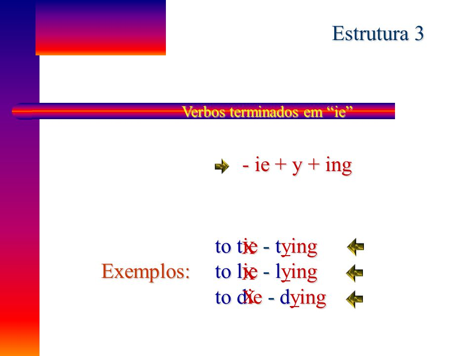 Estrutura 3 - ie + y + ing to tie - tying to lie - lying