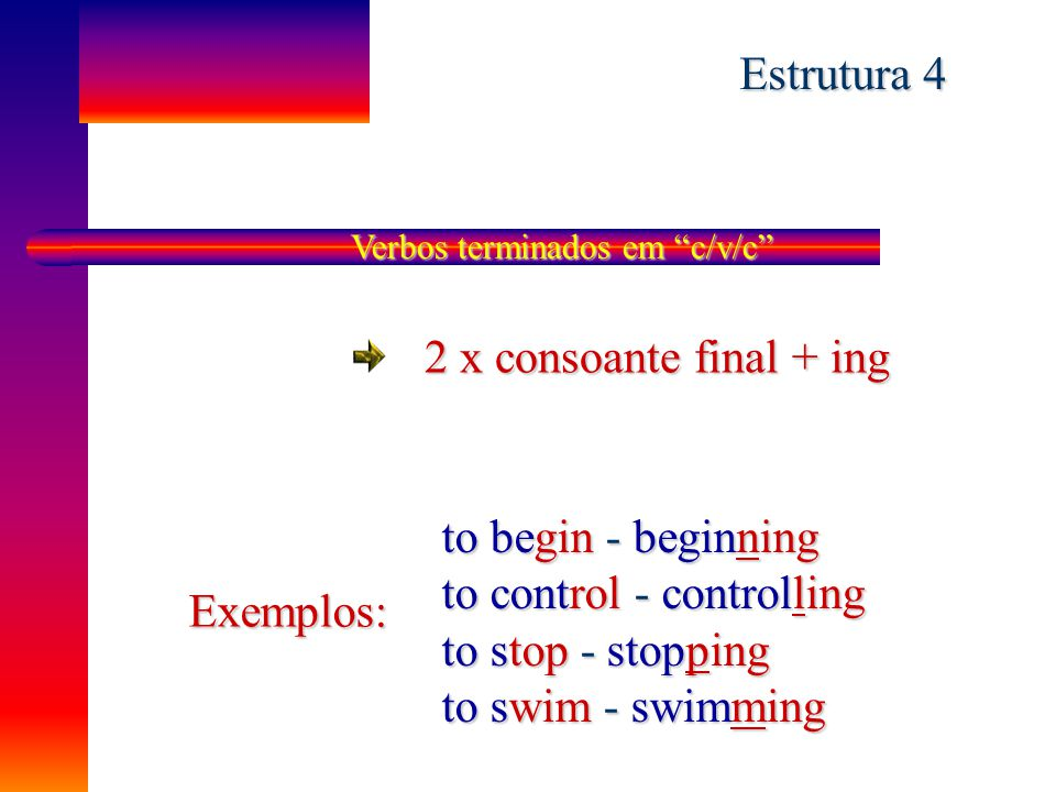 to control - controlling to stop - stopping to swim - swimming