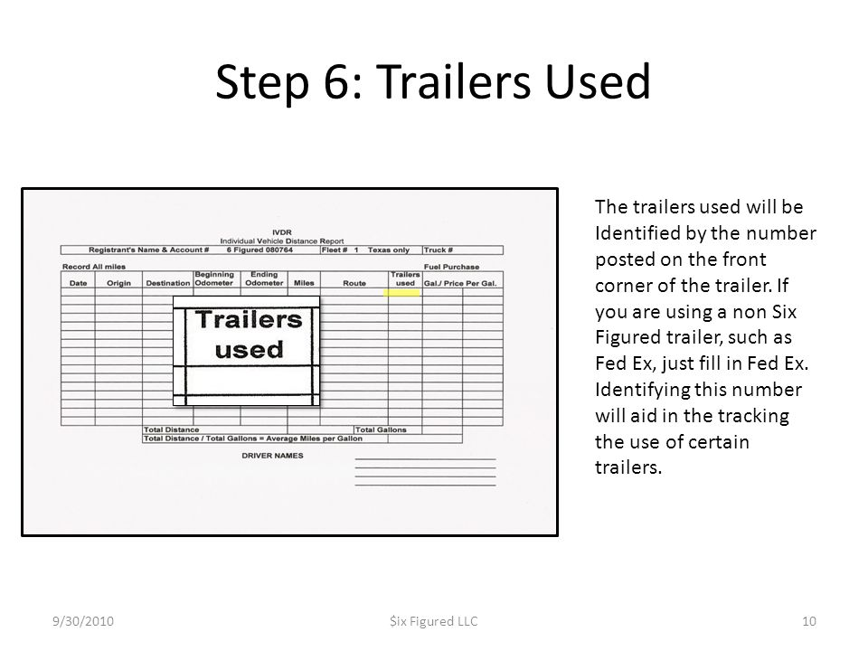 Step 6: Trailers Used