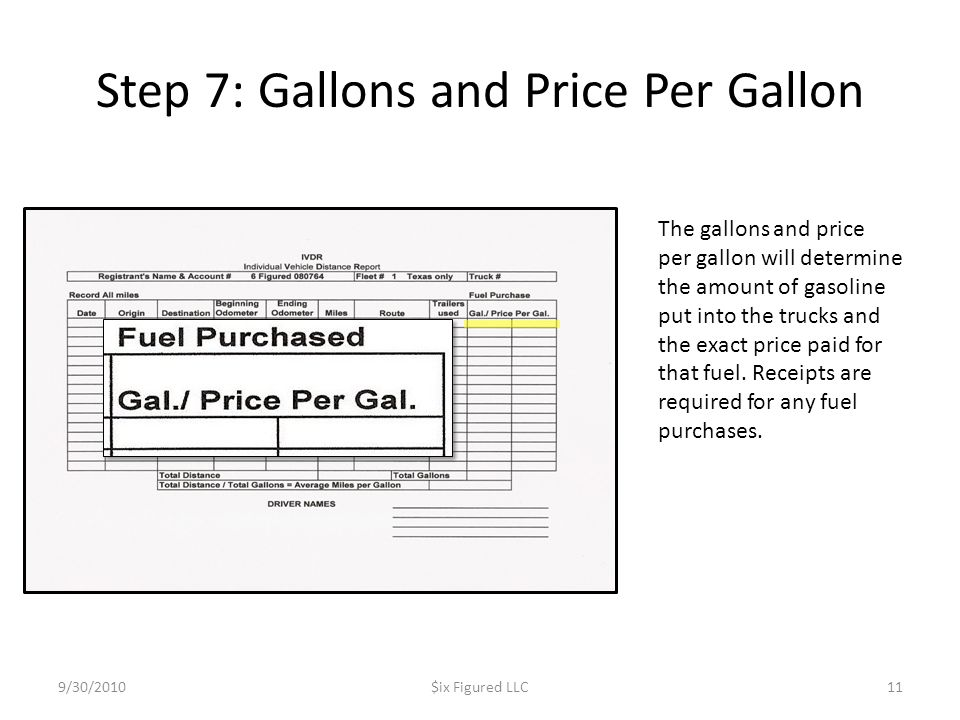 Step 7: Gallons and Price Per Gallon