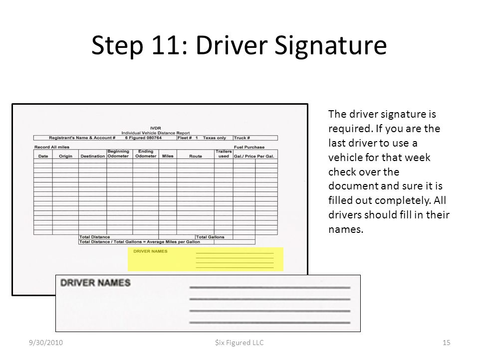 Step 11: Driver Signature