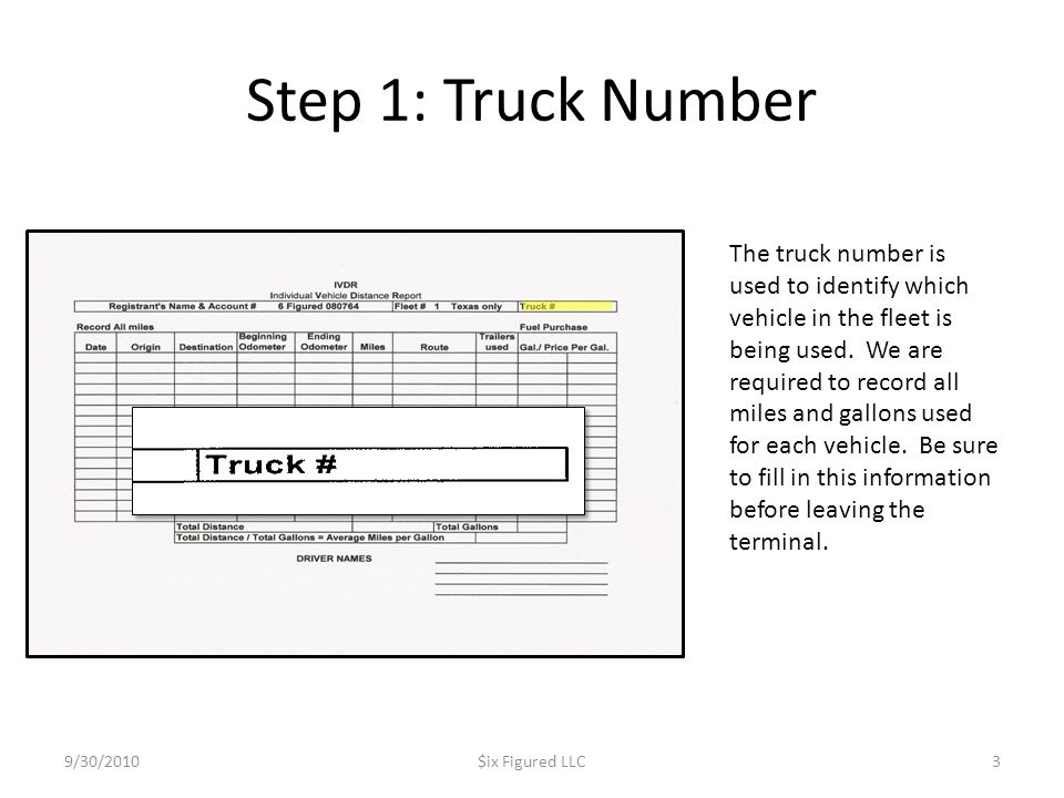 Step 1: Truck Number