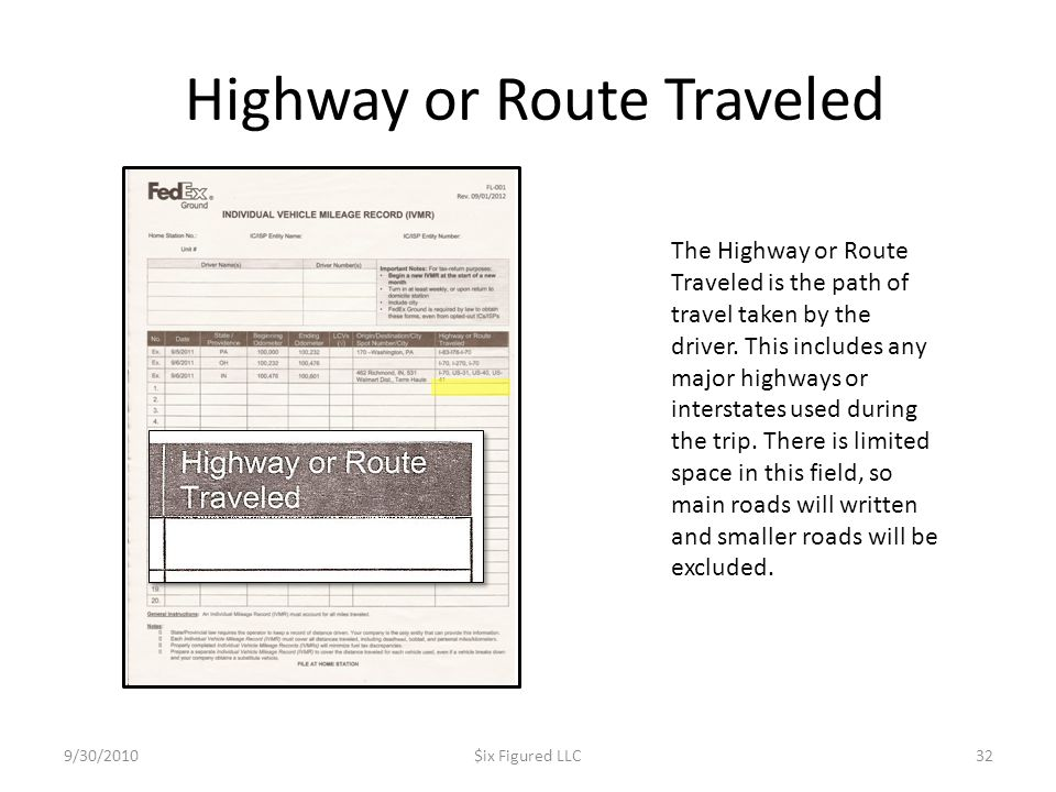 Highway or Route Traveled
