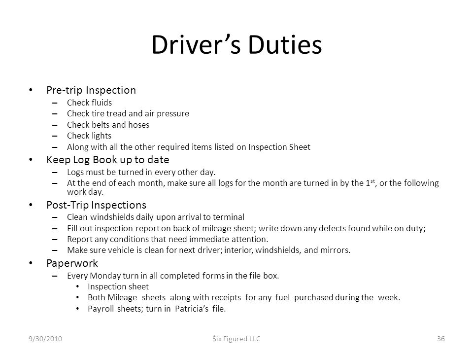 Driver's Duties Pre-trip Inspection Keep Log Book up to date