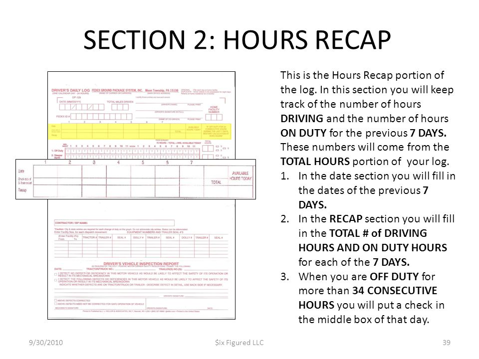 SECTION 2: HOURS RECAP