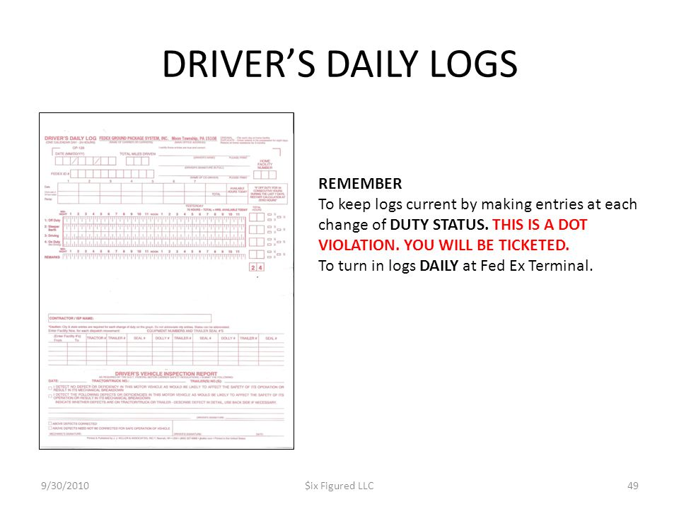 DRIVER'S DAILY LOGS REMEMBER
