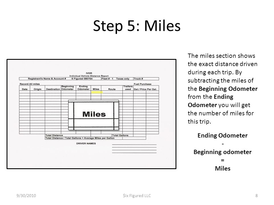 Step 5: Miles