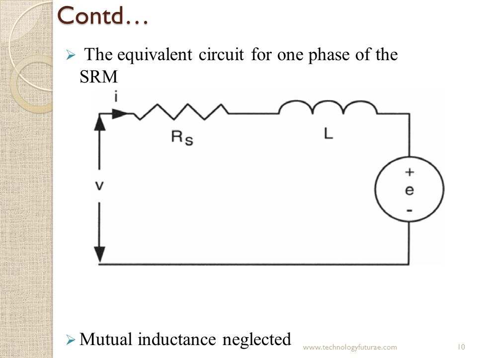 Contd… The equivalent circuit for one phase of the SRM