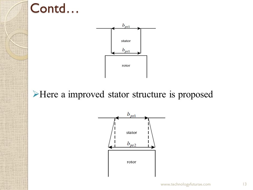 Contd… Here a improved stator structure is proposed