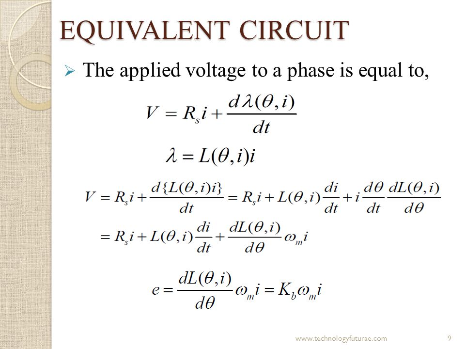 EQUIVALENT CIRCUIT The applied voltage to a phase is equal to,