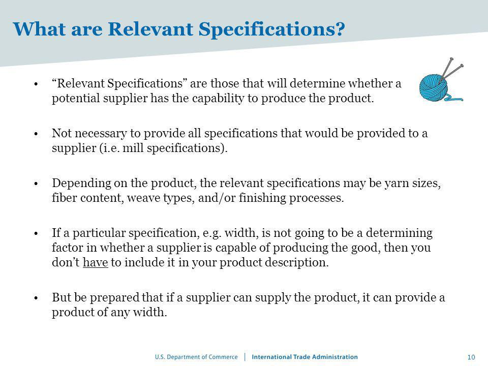 What are Relevant Specifications