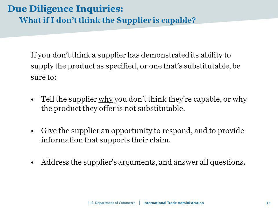 Due Diligence Inquiries: What if I don't think the Supplier is capable