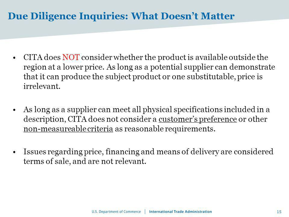 Due Diligence Inquiries: What Doesn't Matter