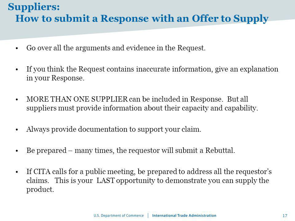 Suppliers: How to submit a Response with an Offer to Supply