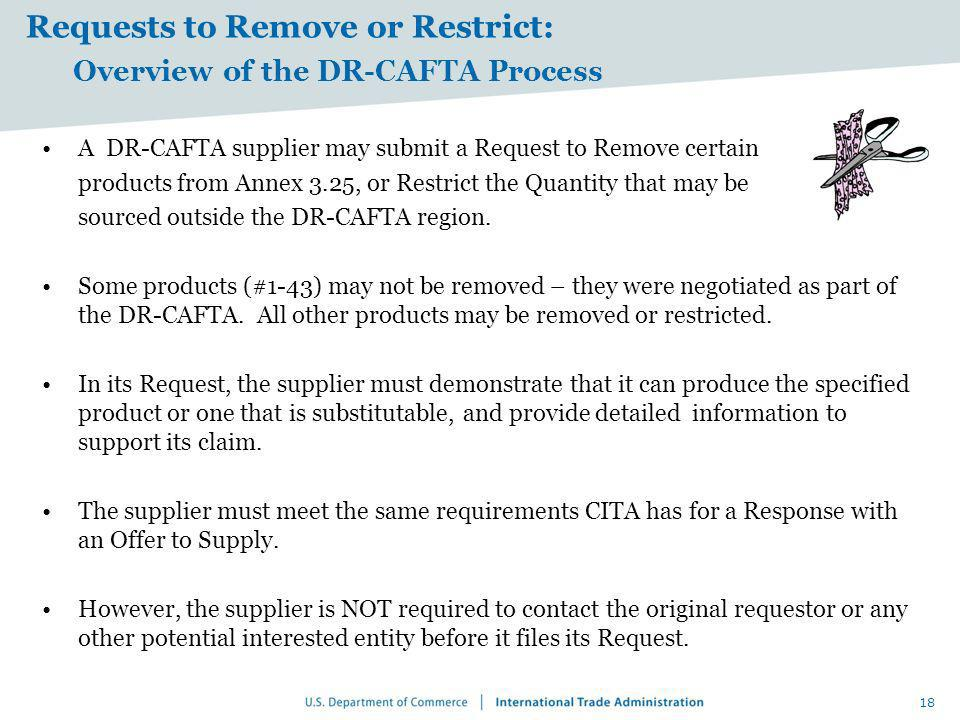 Requests to Remove or Restrict: Overview of the DR-CAFTA Process