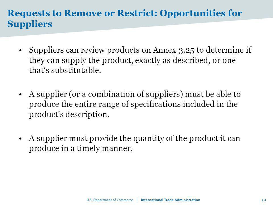 Requests to Remove or Restrict: Opportunities for Suppliers