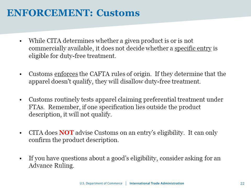 ENFORCEMENT: Customs
