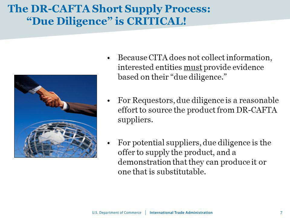 The DR-CAFTA Short Supply Process: Due Diligence is CRITICAL!