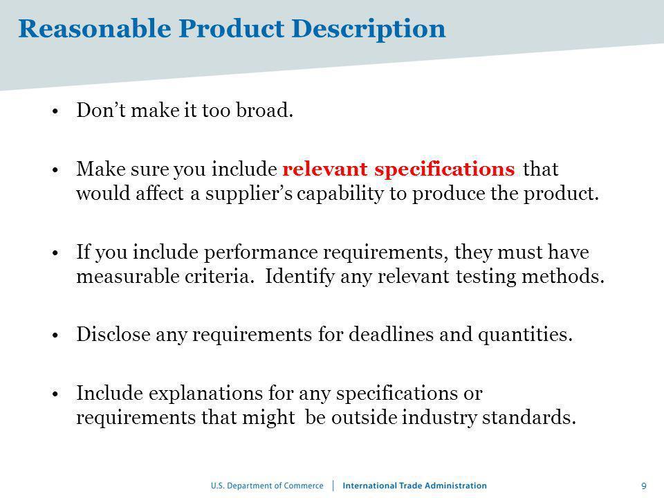 Reasonable Product Description