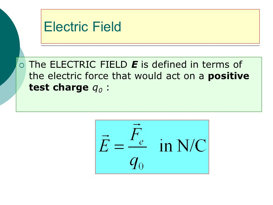 Electric Field The ELECTRIC FIELD E is defined in terms of the electric force that would act on a positive test charge q0 :