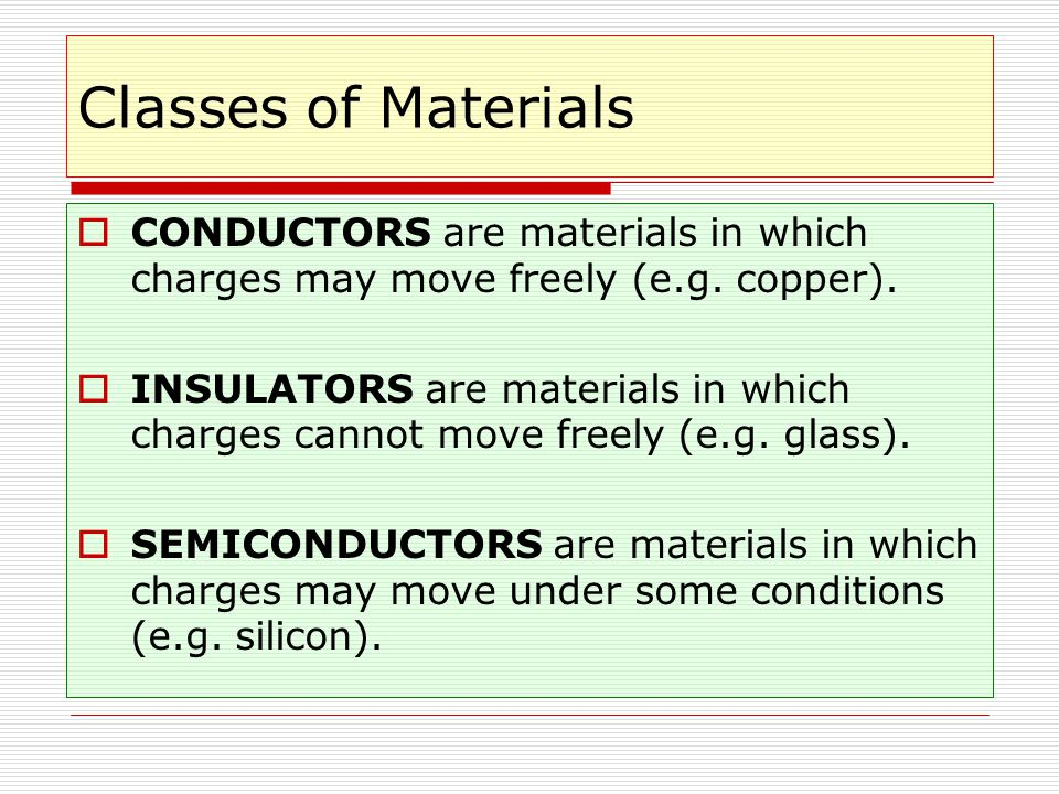 Classes of Materials CONDUCTORS are materials in which charges may move freely (e.g. copper).