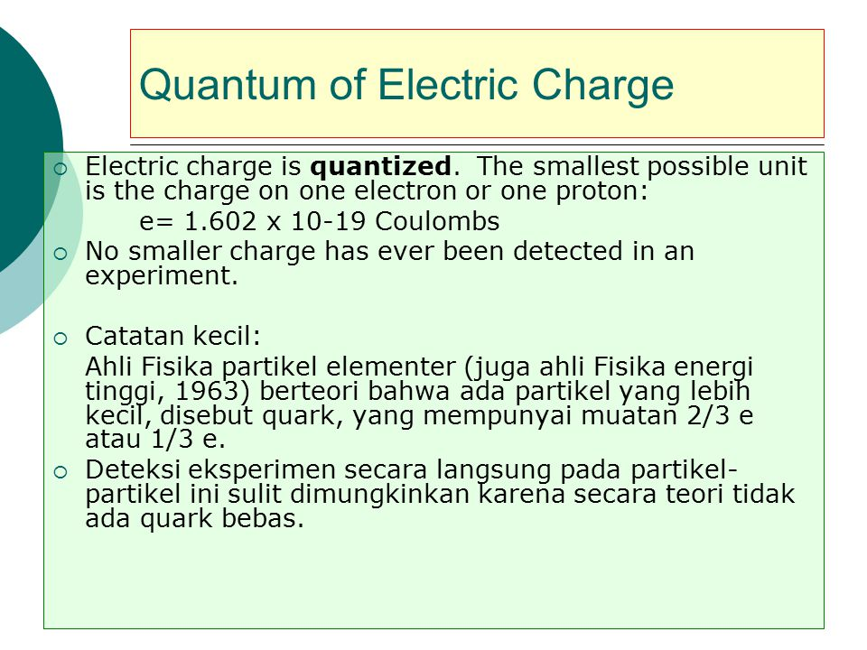 Quantum of Electric Charge