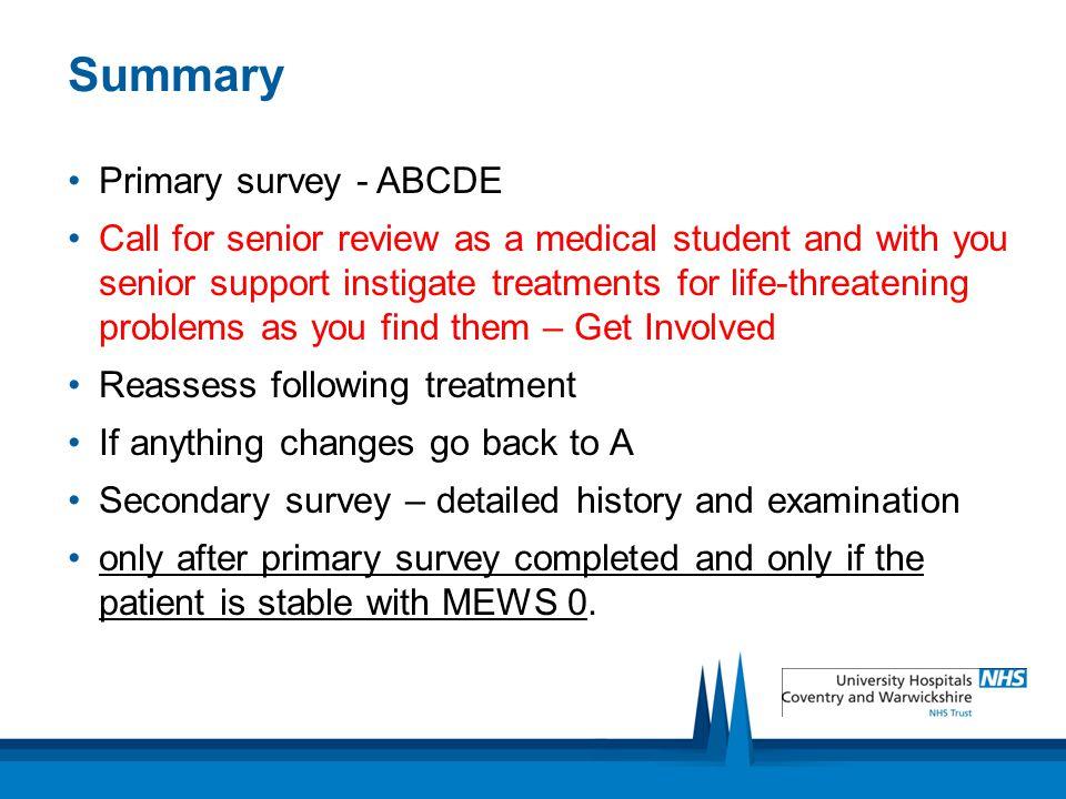 Summary Primary survey - ABCDE