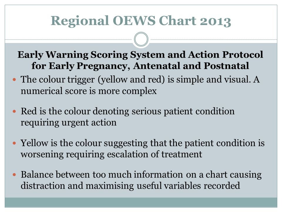 Regional OEWS Chart 2013 Early Warning Scoring System and Action Protocol for Early Pregnancy, Antenatal and Postnatal.