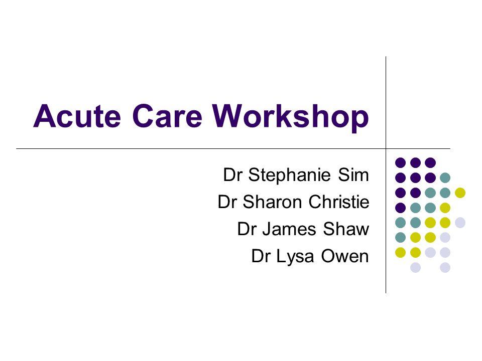 Dr Stephanie Sim Dr Sharon Christie Dr James Shaw Dr Lysa Owen