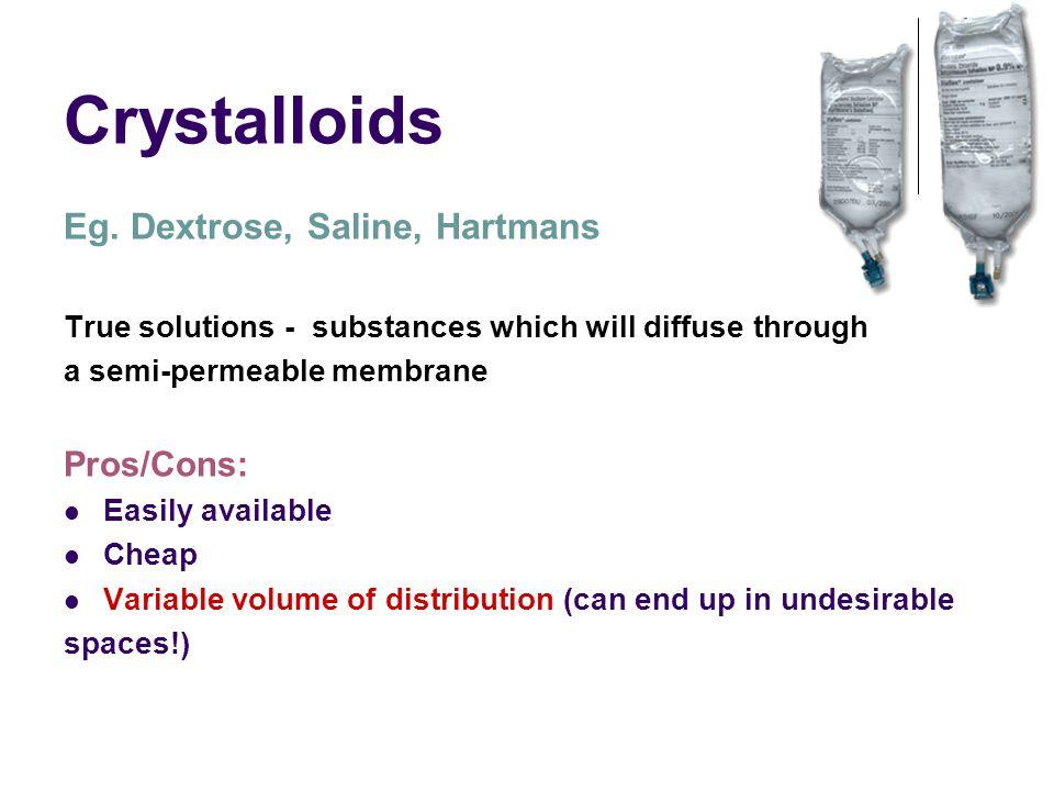 Crystalloids Eg. Dextrose, Saline, Hartmans Pros/Cons: