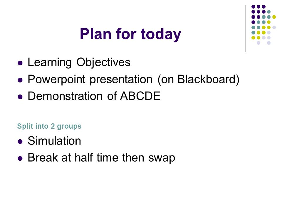 Plan for today Learning Objectives