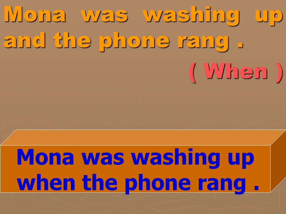 Mona was washing up and the phone rang . ( When )