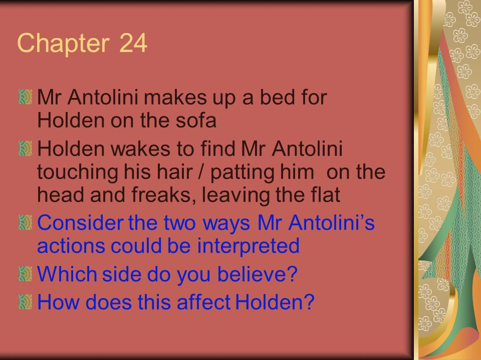 Chapter 24 Mr Antolini makes up a bed for Holden on the sofa