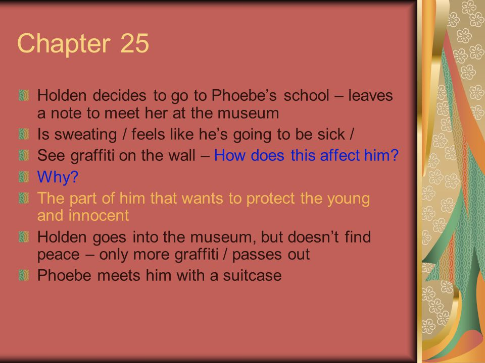 Chapter 25 Holden decides to go to Phoebe's school – leaves a note to meet her at the museum. Is sweating / feels like he's going to be sick /