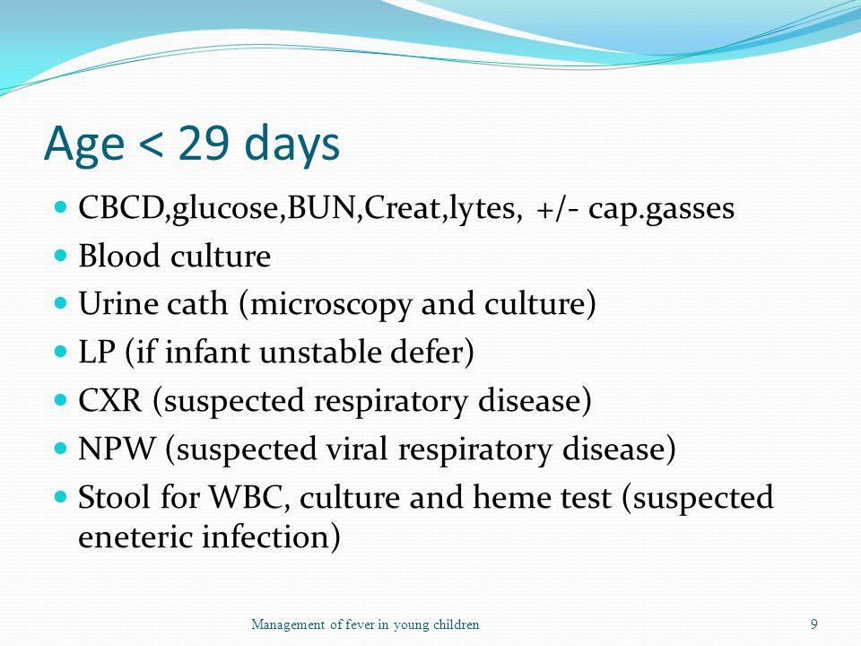 Age < 29 days CBCD,glucose,BUN,Creat,lytes, +/- cap.gasses