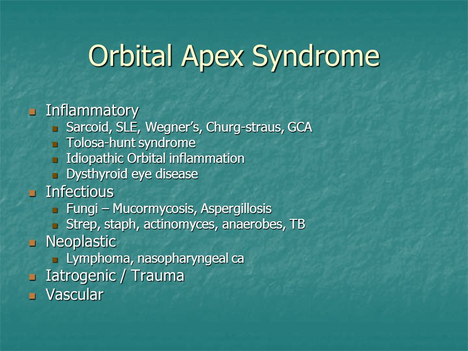 Orbital Apex Syndrome Inflammatory Infectious Neoplastic
