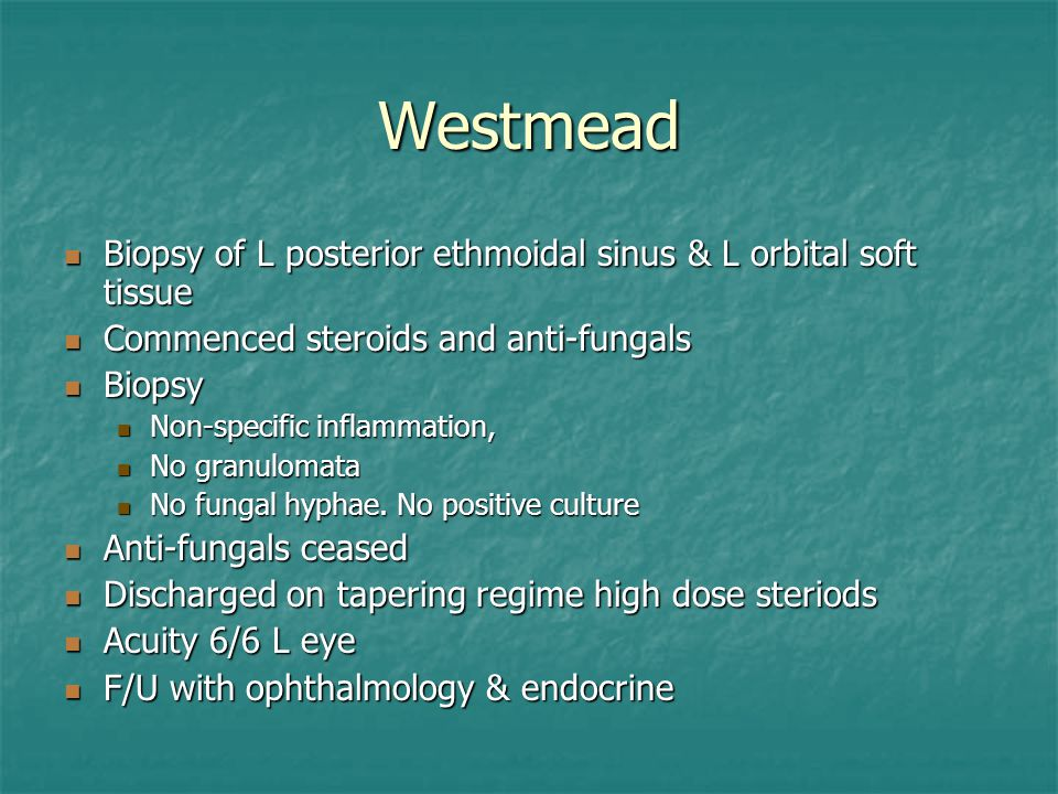 Westmead Biopsy of L posterior ethmoidal sinus & L orbital soft tissue