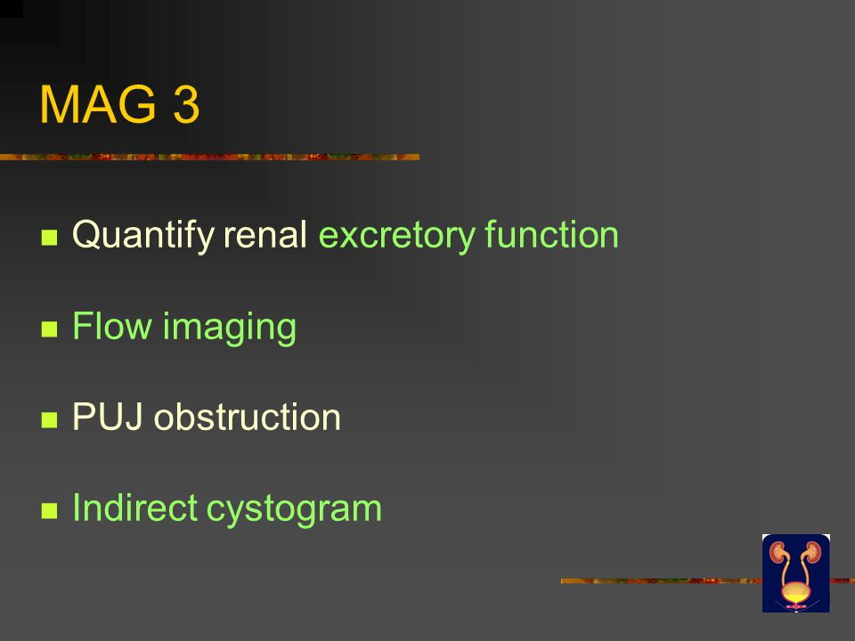 MAG 3 Quantify renal excretory function Flow imaging PUJ obstruction